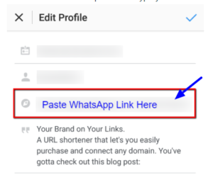How To Add WhatsApp Link To Instagram Bio 6
